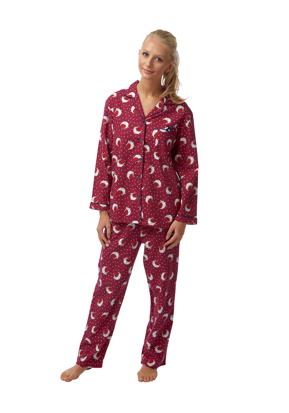 Indigo Sky Robin Print Brushed Cotton Pyjama Set, Wine