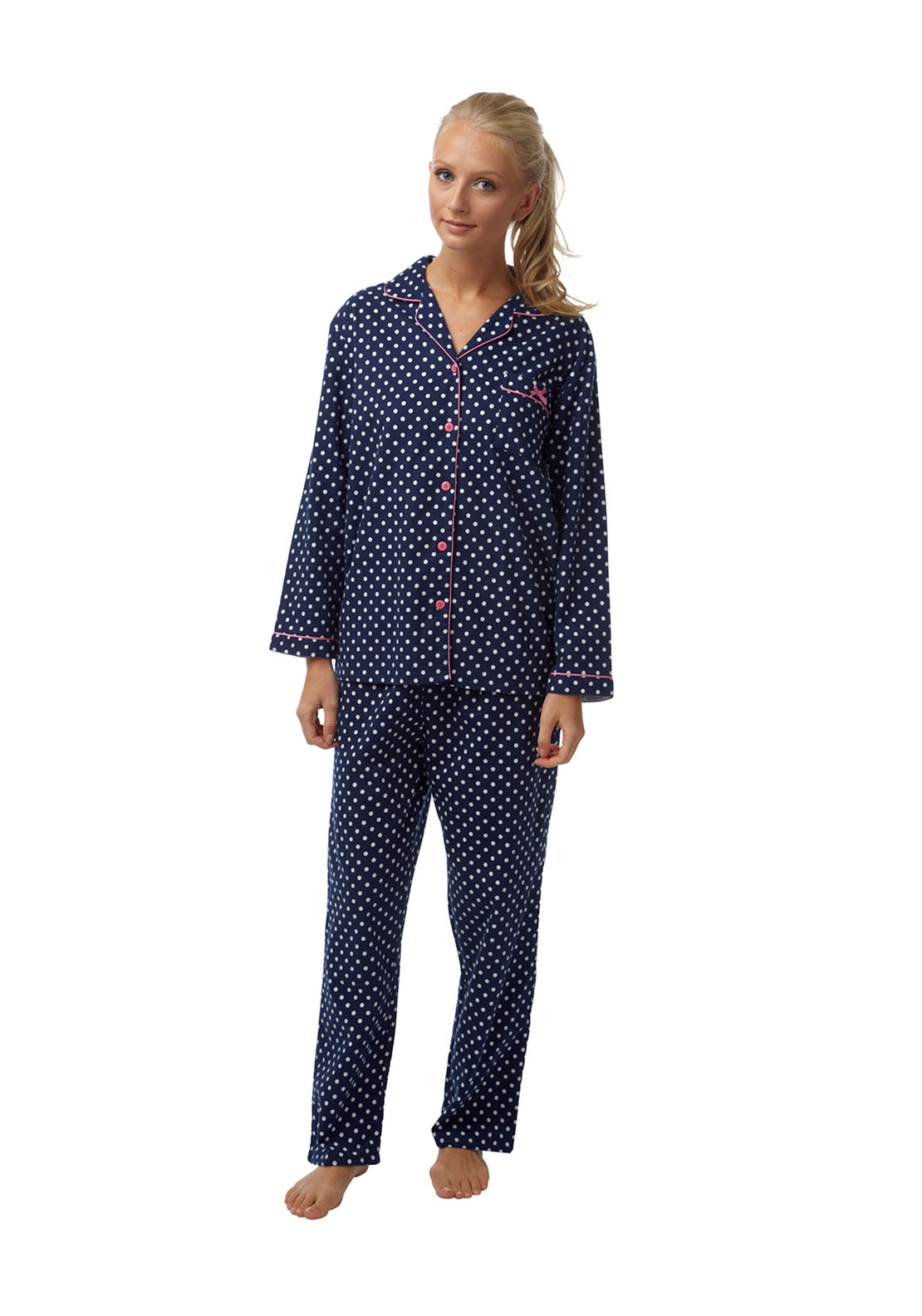 Indigo Sky Polka Dot Print Brushed Cotton Pyjama Set, Navy