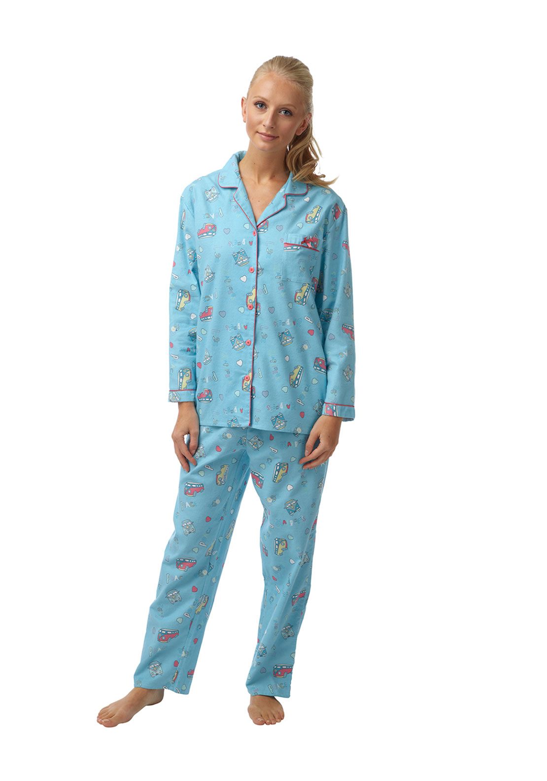 Indigo Sky Campervan Print Brushed Cotton Pyjama Set, Blue