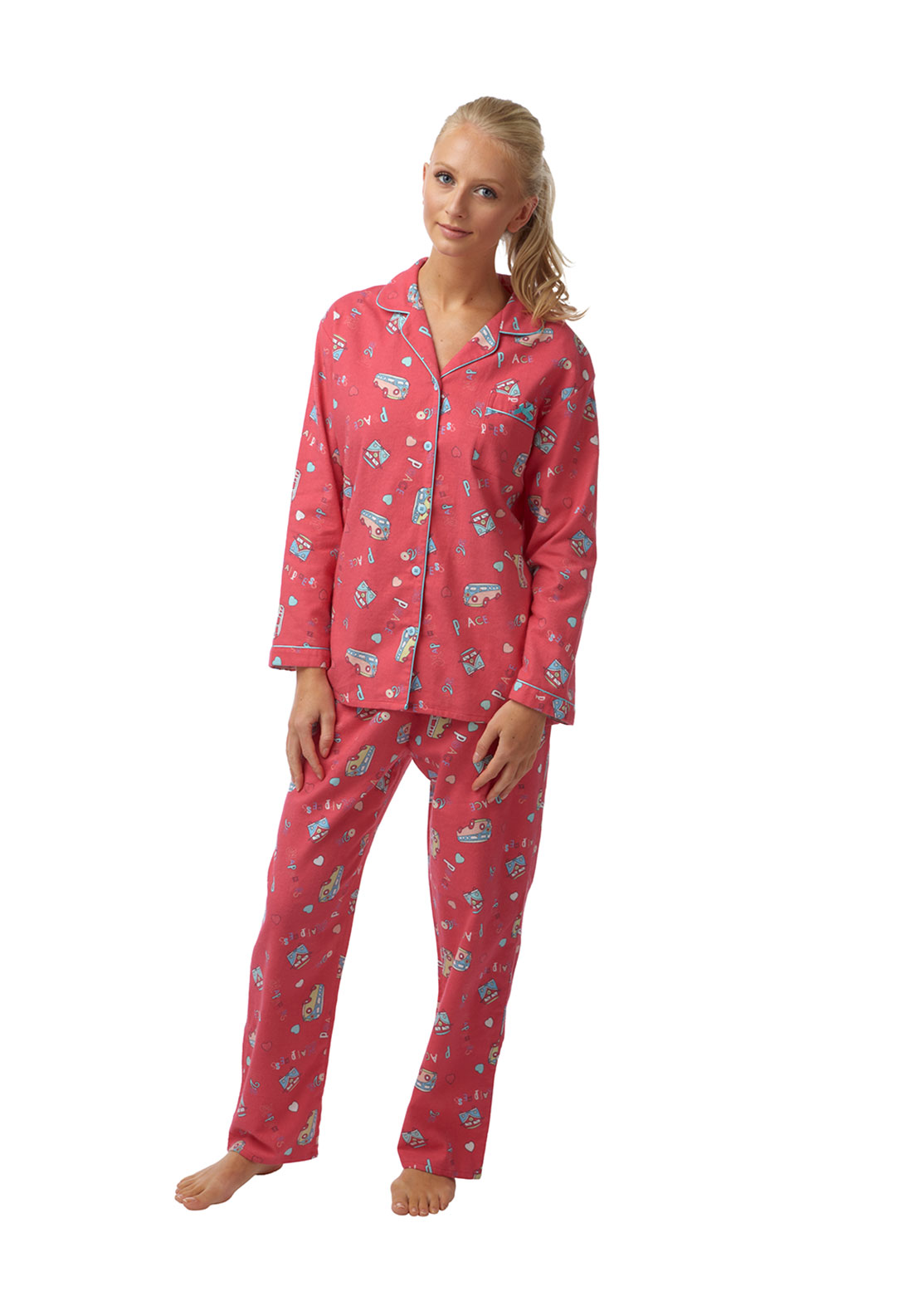 Indigo Sky Campervan Print Brushed Cotton Pyjama Set, Coral