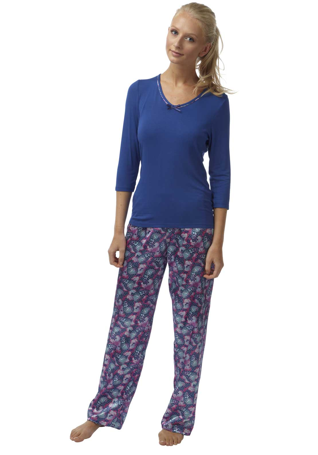 Indigo Sky Butterfly Print Pyjama Set, Multi-Coloured
