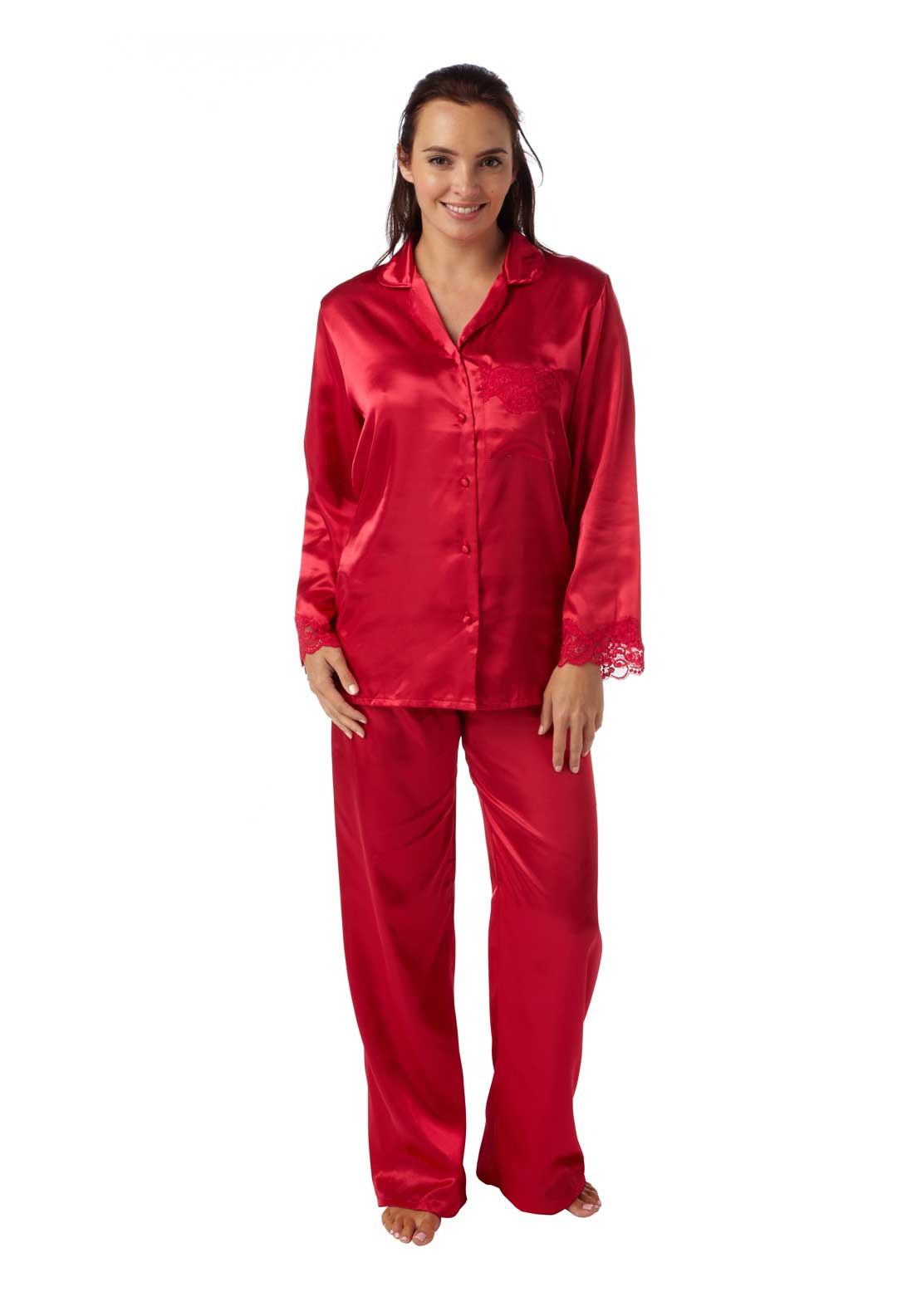 Indigo Sky Satin Pyjama Set, Red