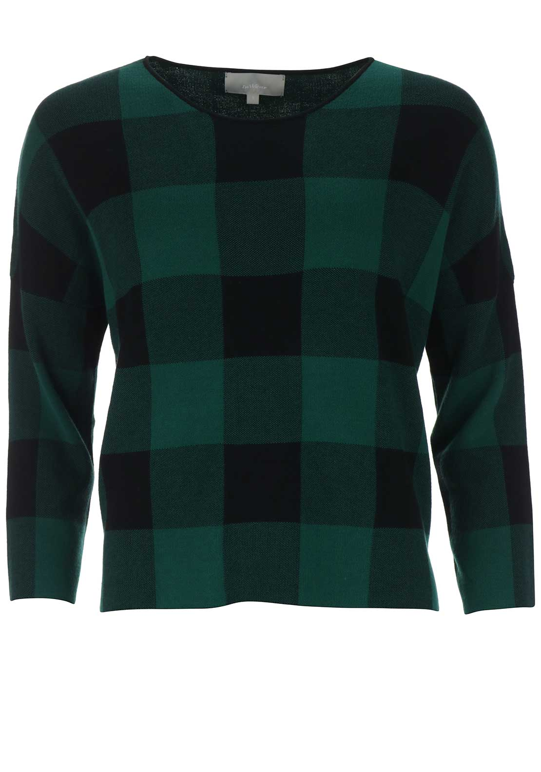 Inwear Tasha Checked Loose Fit Jumper, Green