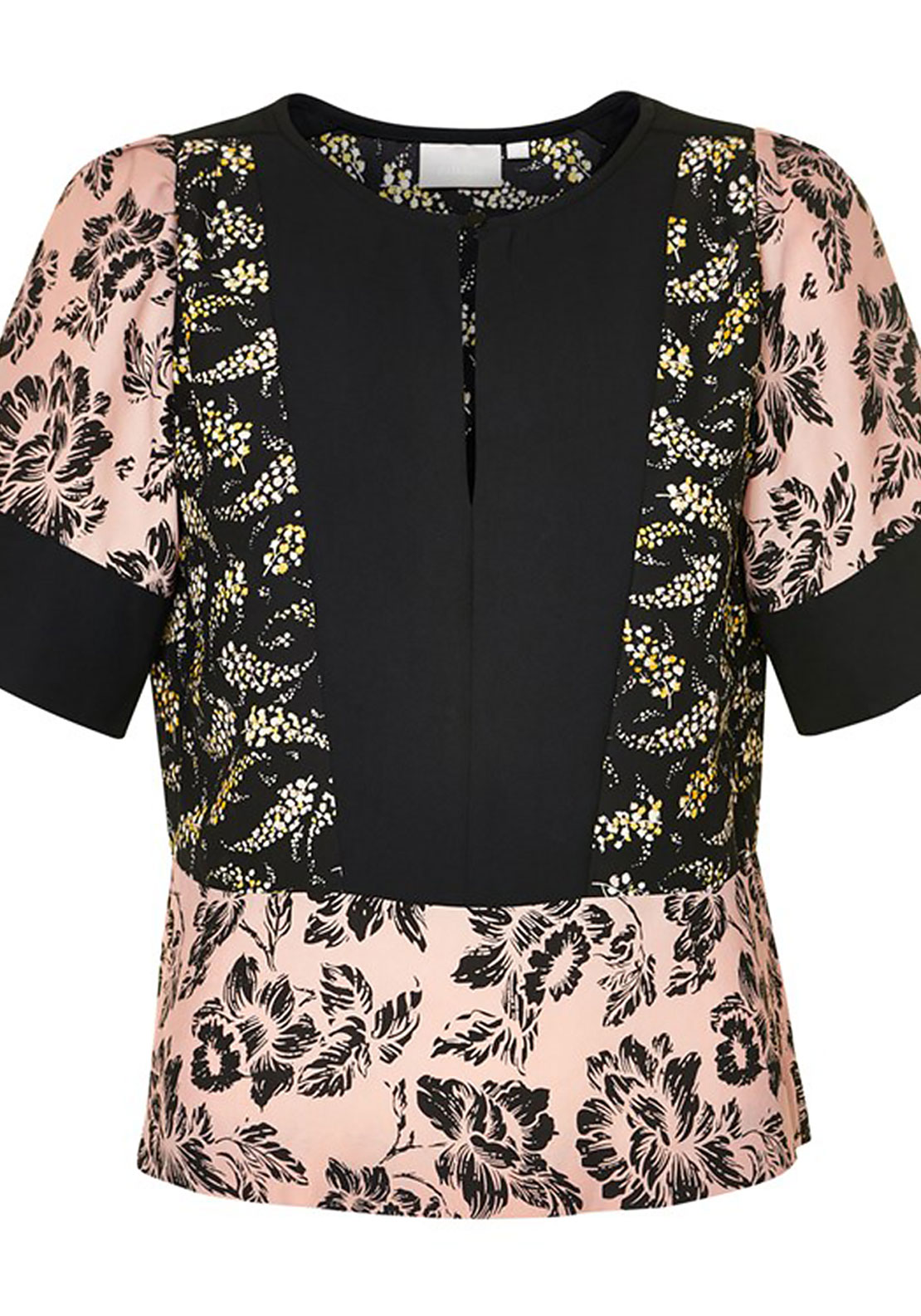 Inwear Luna Printed Top, Black and Nude