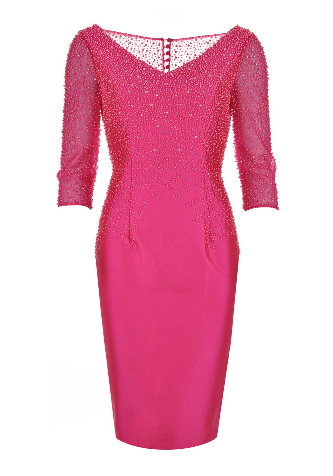 Irresistible Beaded Pencil Dress, Hot Pink