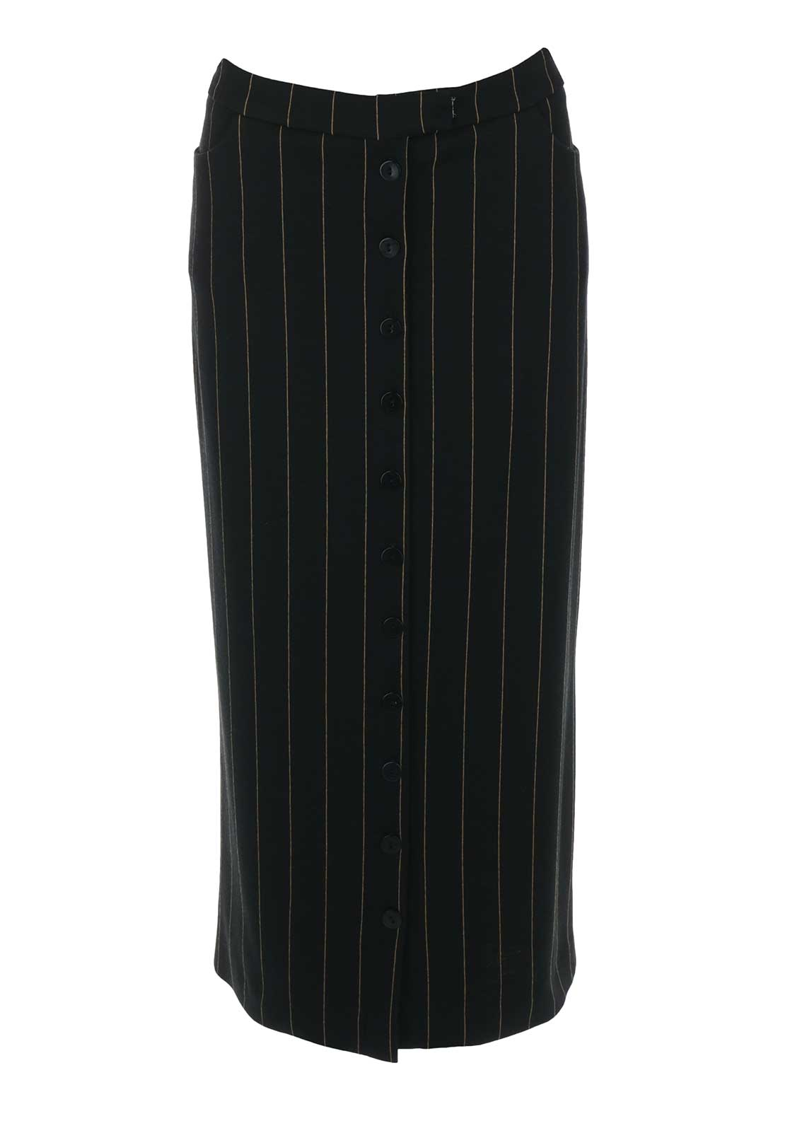 Isabel de Pedro Midi Length Striped Pencil Skirt, Black