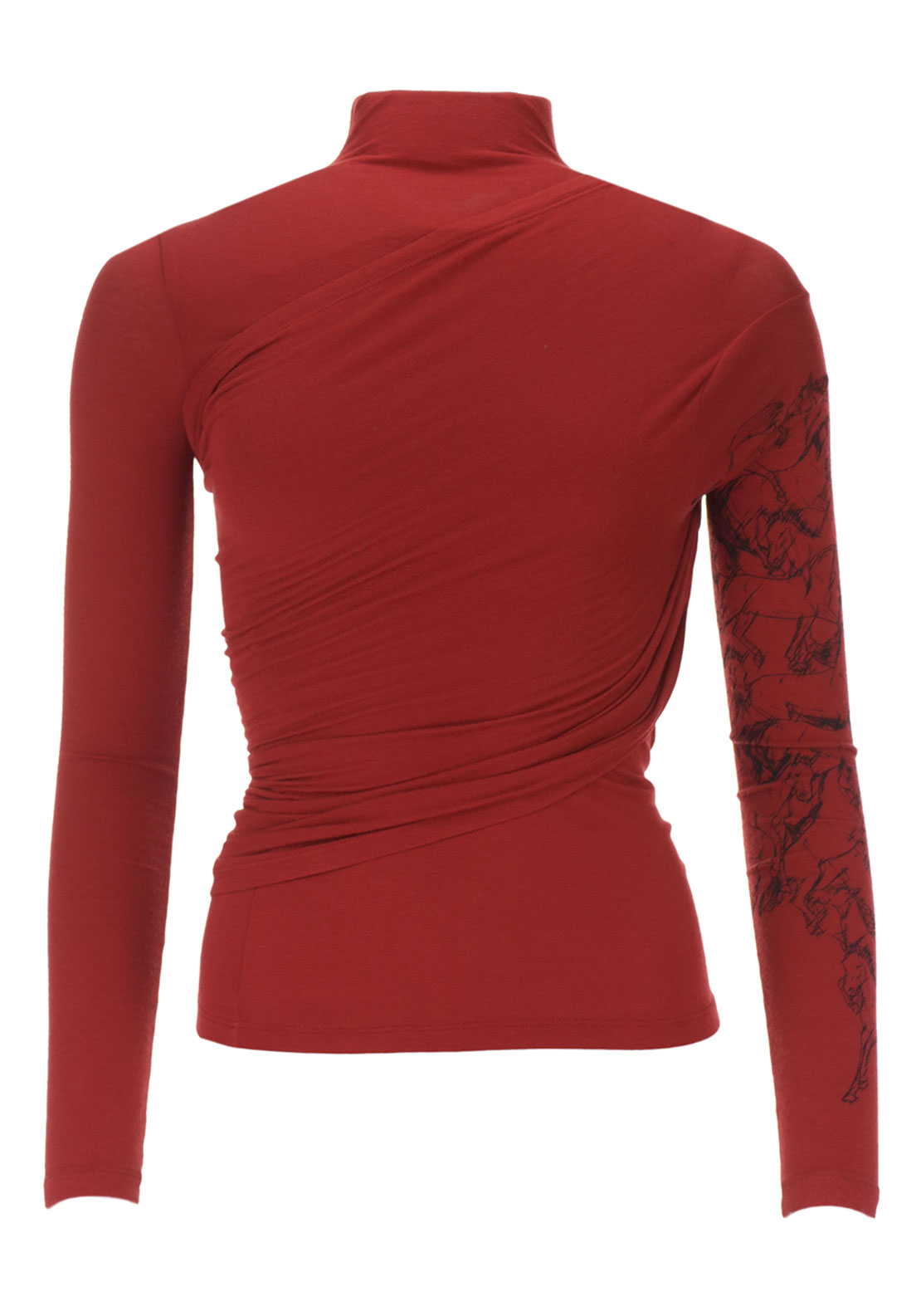 Isabel de Pedro Wrap Over Long Sleeve Jersey Top, Rust