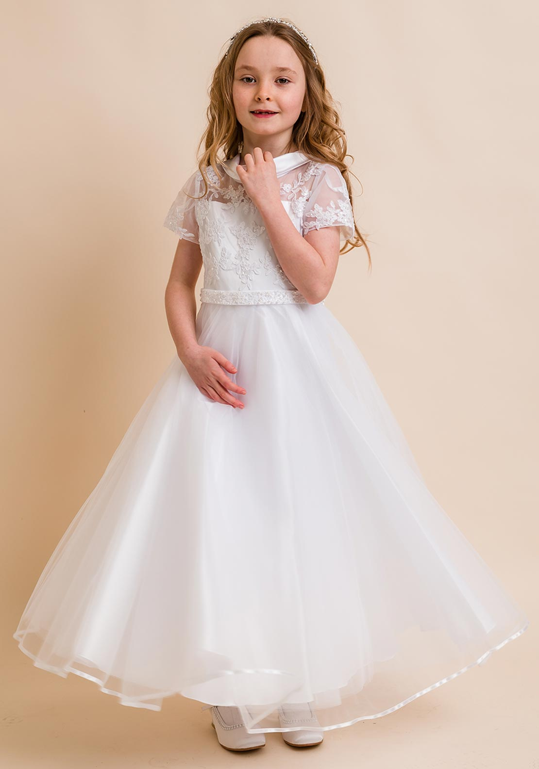Isabella IS21947 Embroidered Bodice Tulle Communion Dress, White