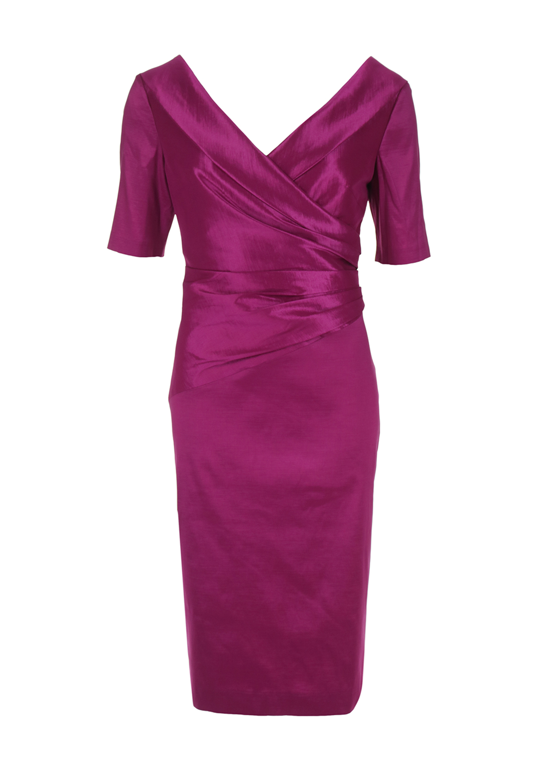 Ispirato Ruched Metallic Sheen Dress, Fuschia Pink