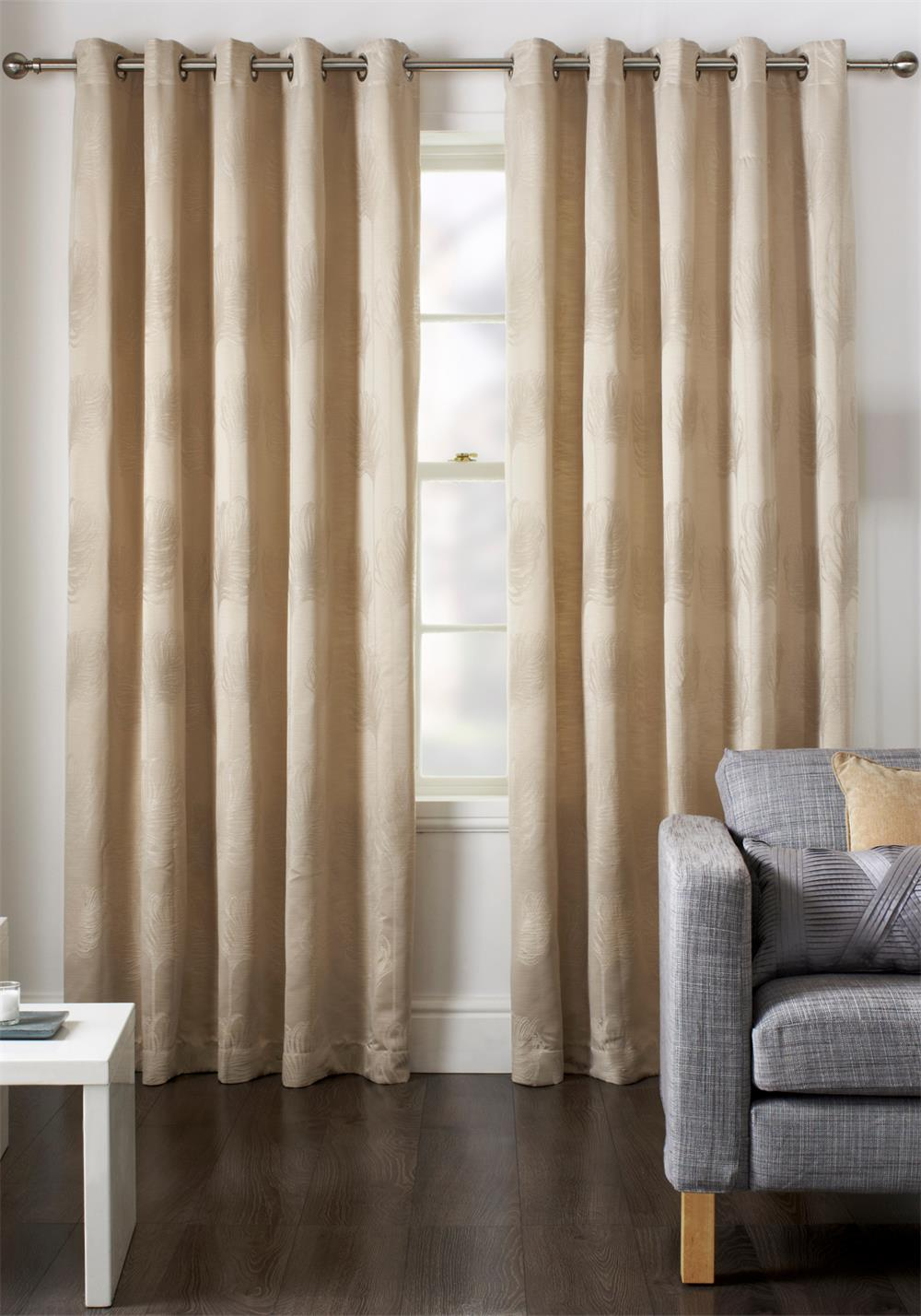 Jeff Banks Diego Fully Lined Eyelet Curtains, Natural