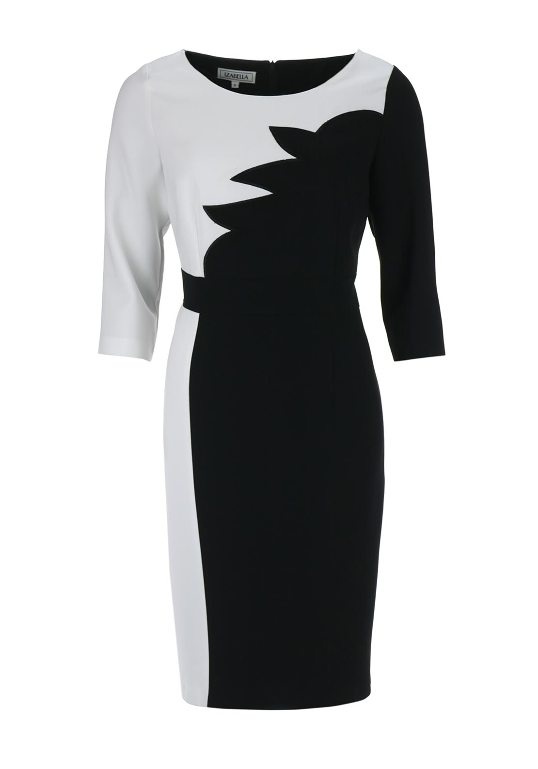 Izabella Monochrome Cropped Sleeve Pencil Dress, Black and White