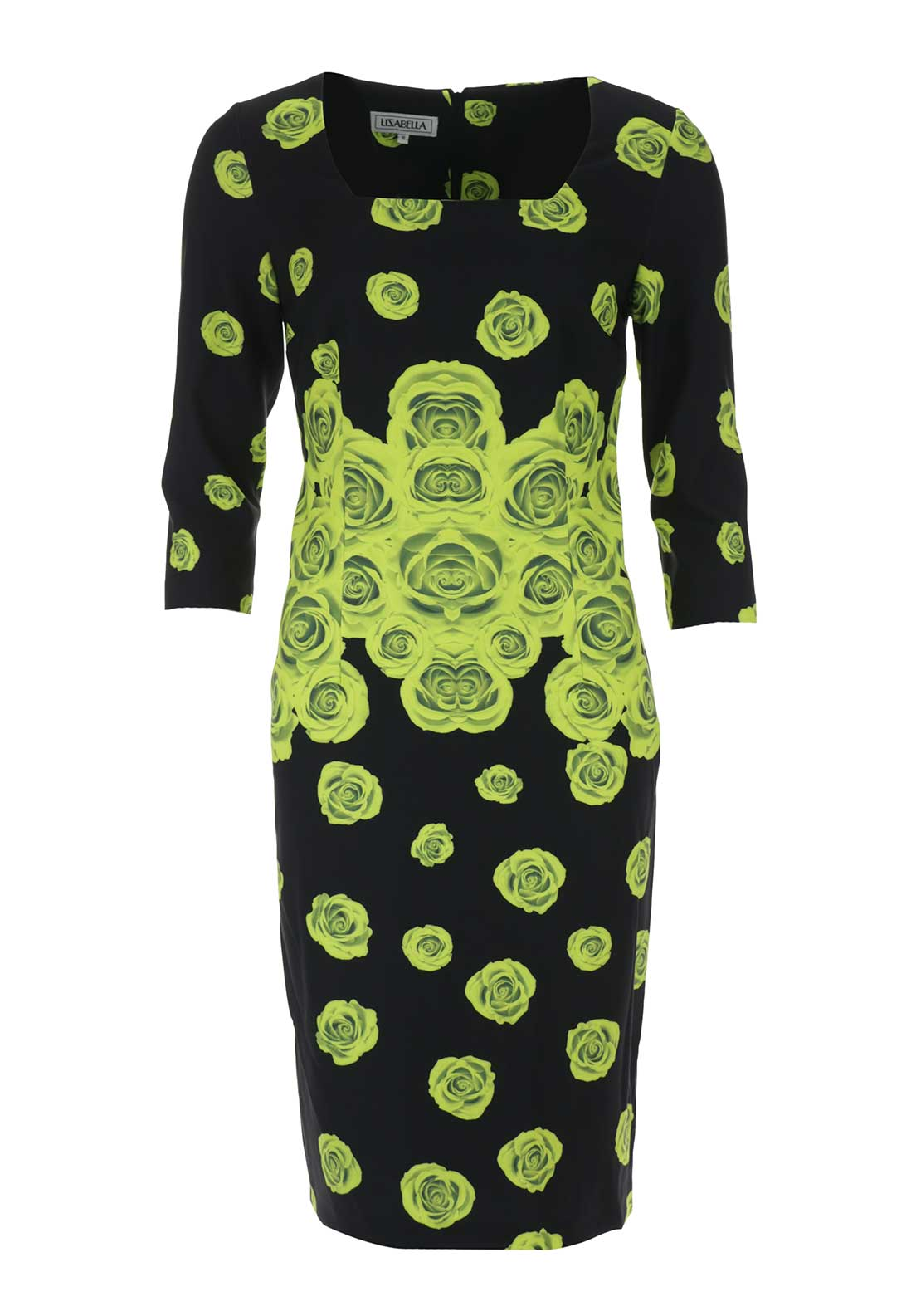 Izabella Rose Print Pencil Dress, Lime and Black