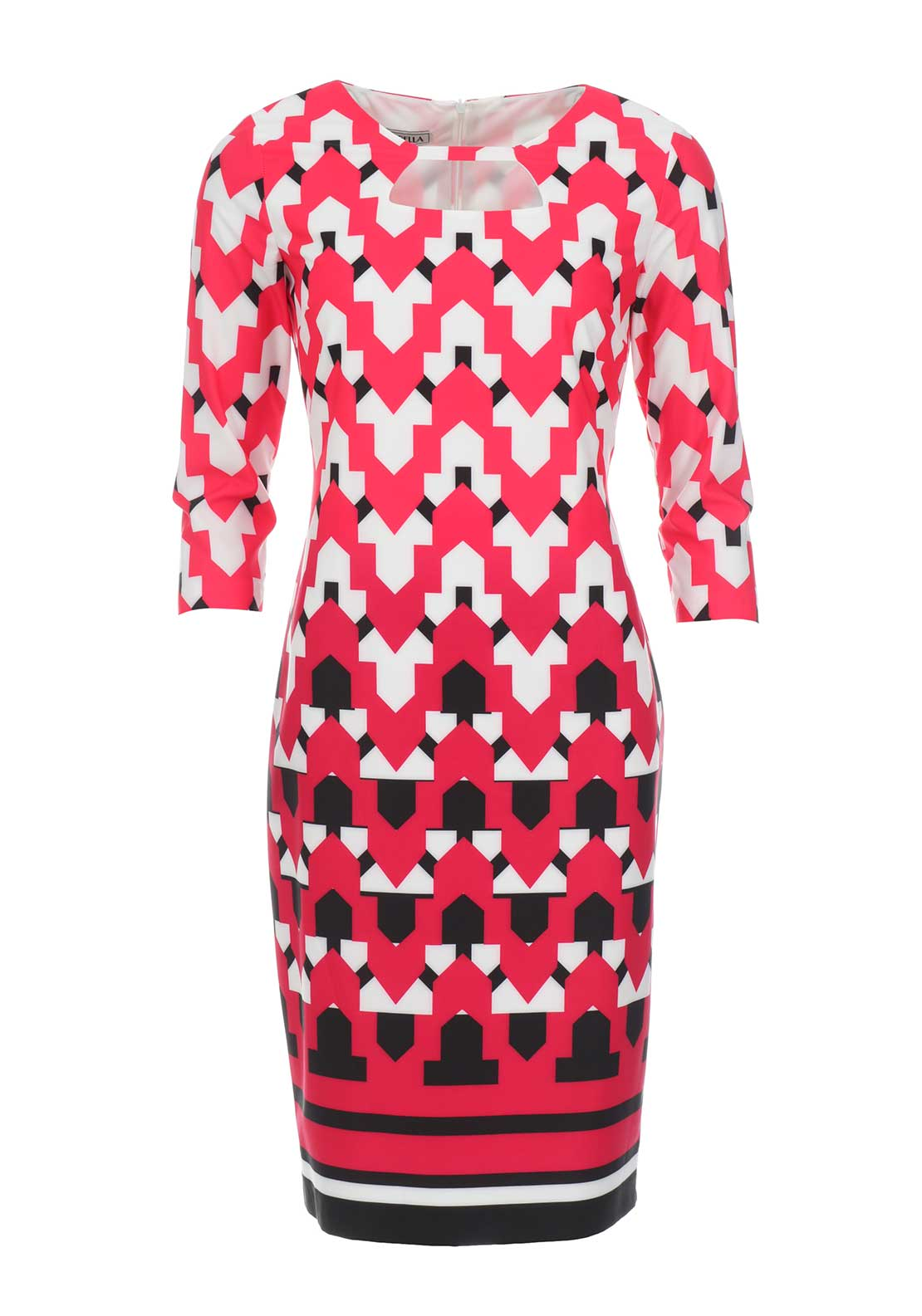 Lizabella Geometric Print Pencil Dress, Red Multi