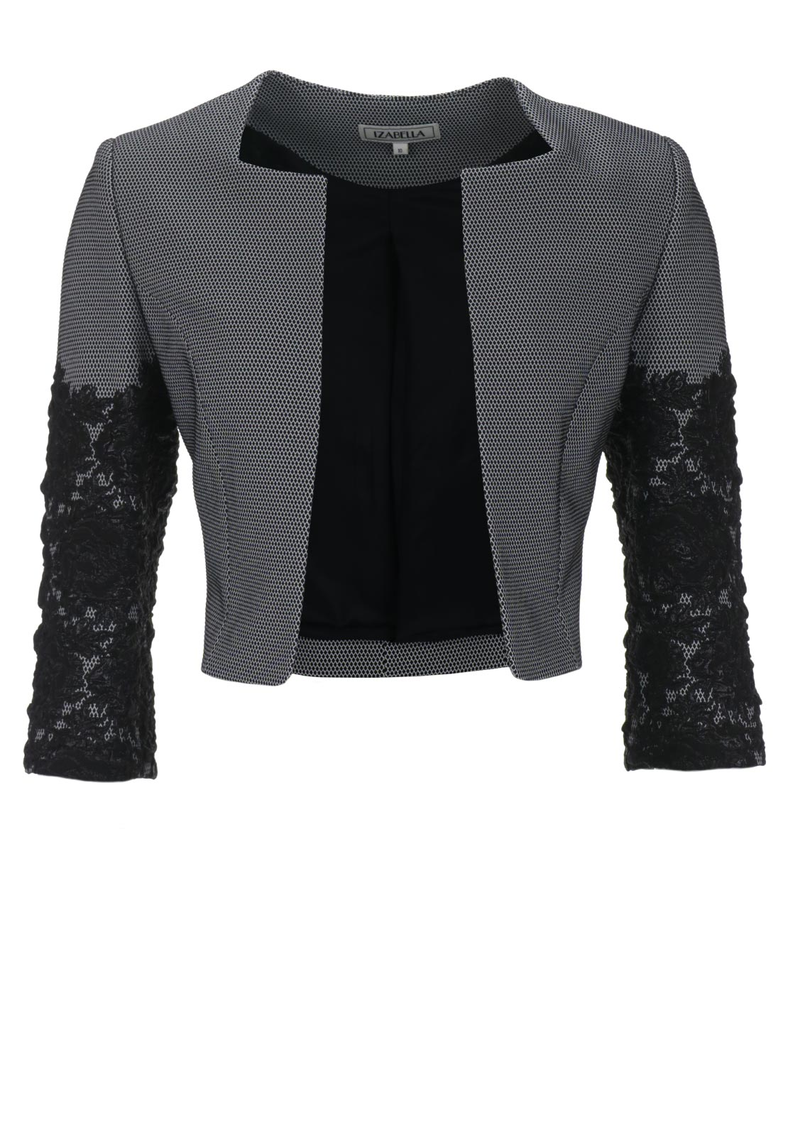 Izabella Textured Sleeve Diamond Print Bolero Jacket, Black