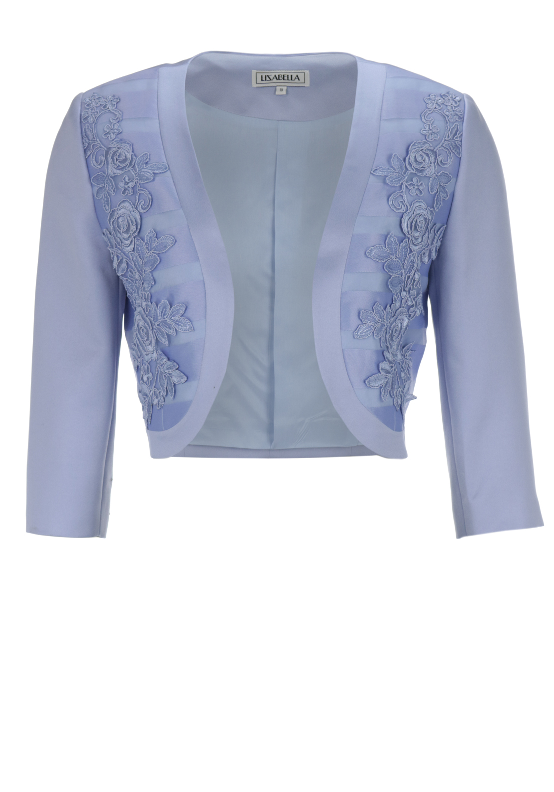 Izabella Lace Trim Organza Stripe Bolero Jacket, Pale Blue