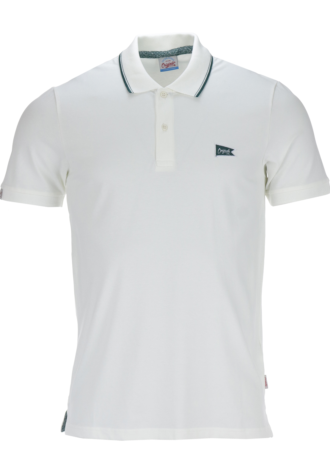 Jack & Jones Originals Mens Brand Short Sleeved Polo Shirt, White