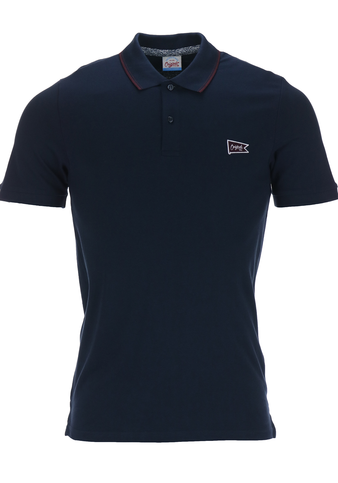 Jack & Jones Originals Mens Brand Short Sleeved Polo Shirt, Navy