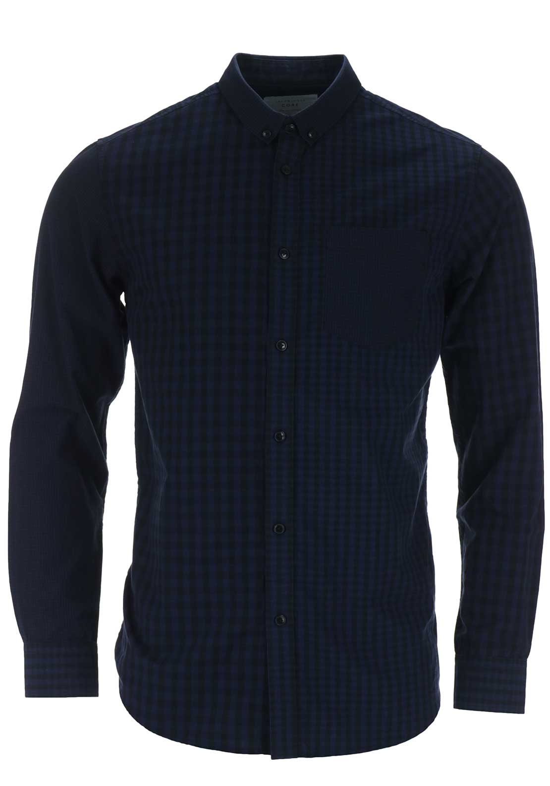Jack & Jones Core Mens Eddie Long Sleeved Gingham Checked Shirt, Navy