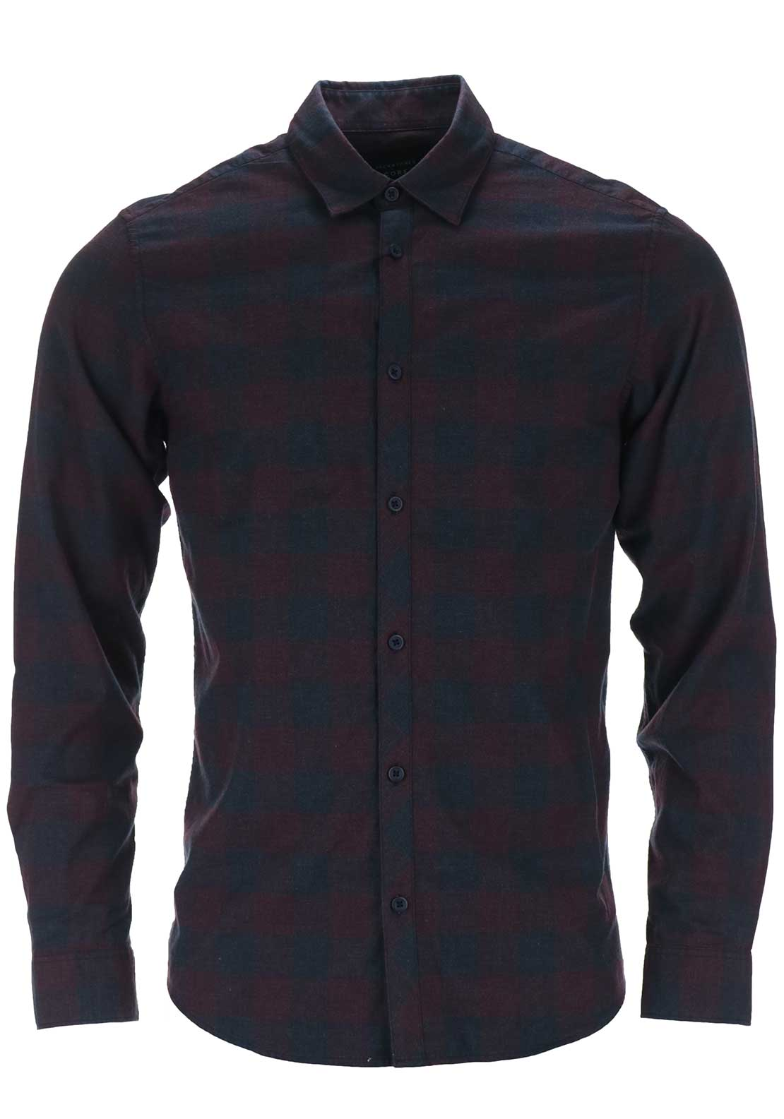 Jack & Jones Core Mens James Long Sleeved Checked Shirt, Navy