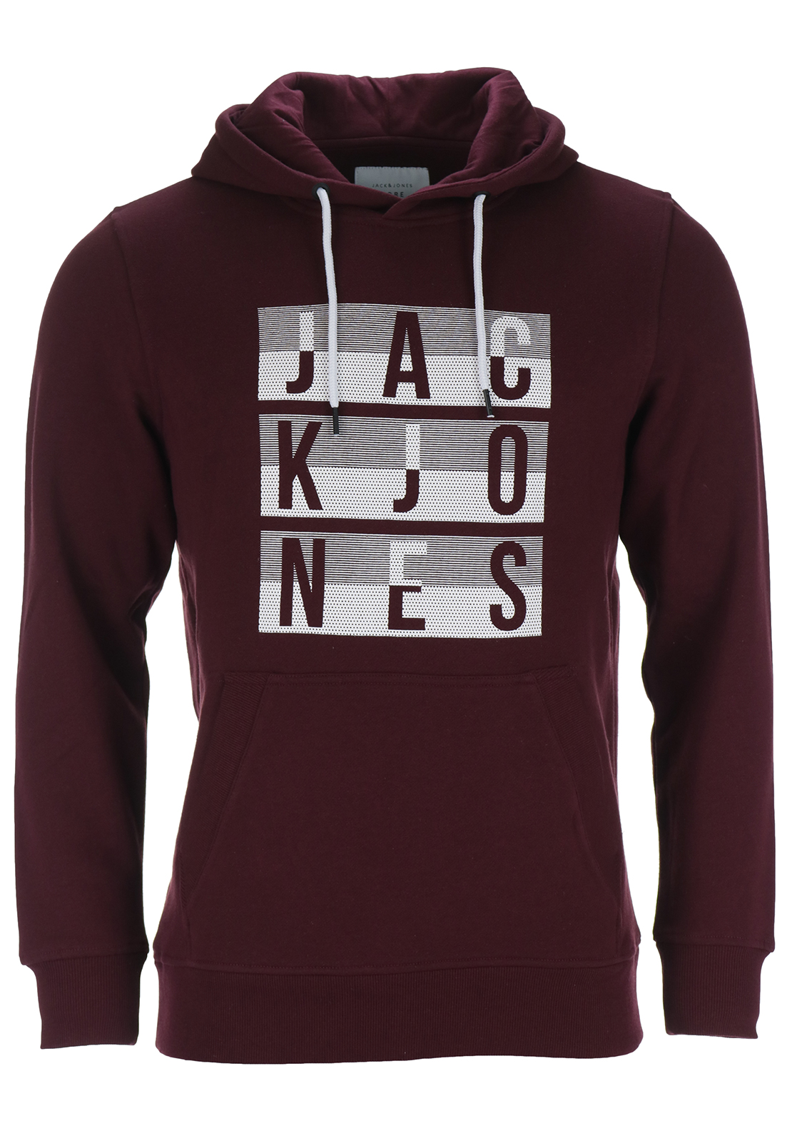 Jack & Jones Core Mens Eddy Sweat Hood, Port