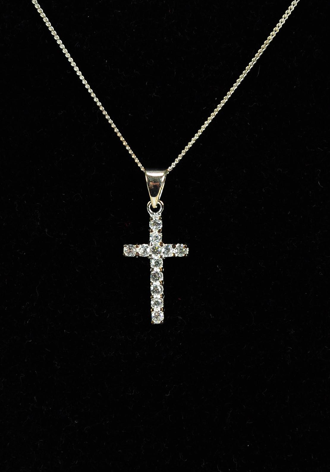 Diamante Cross Necklace, Silver