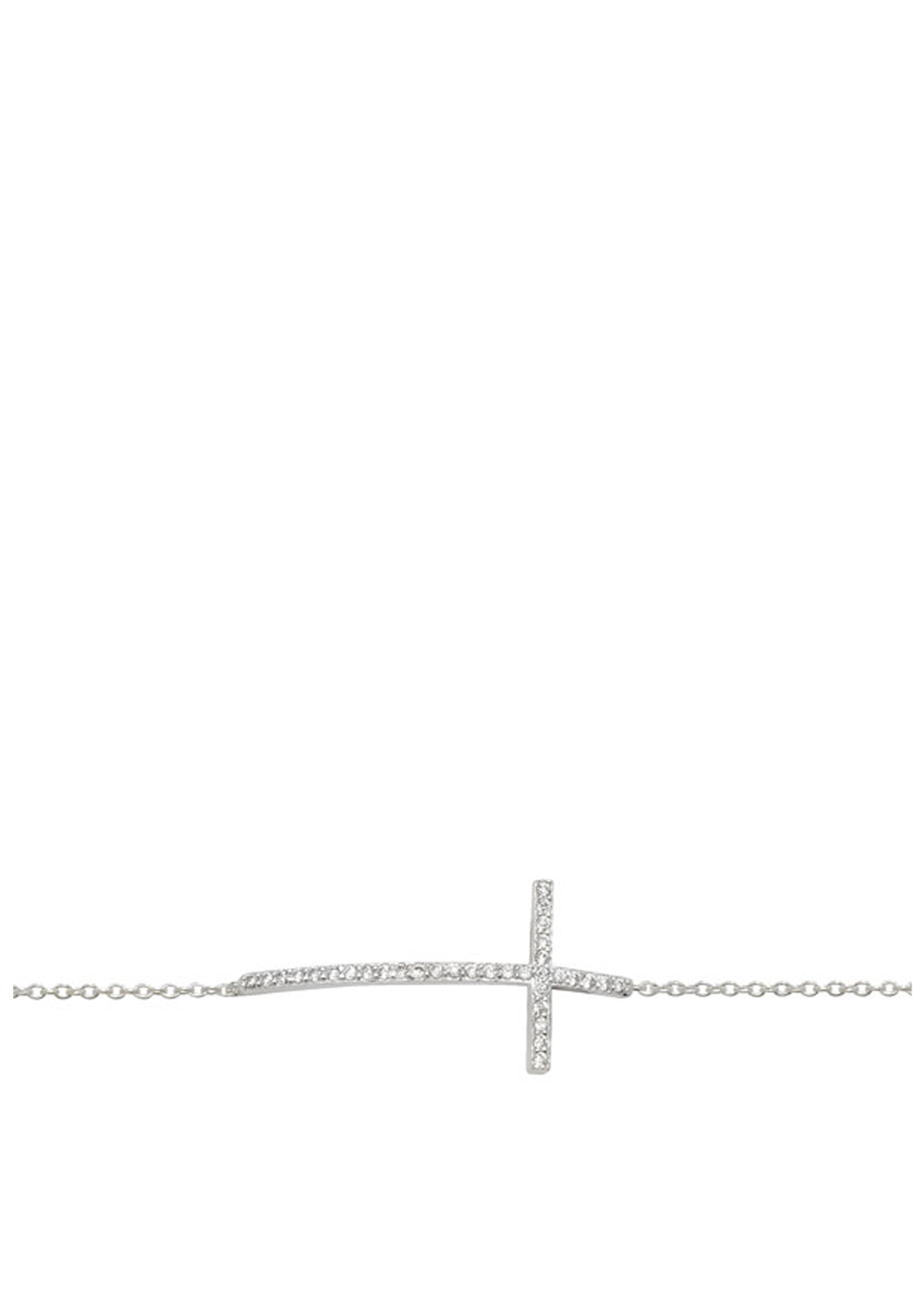 Girls Sterling Silver & Cubic Zirconia Cross Bracelet