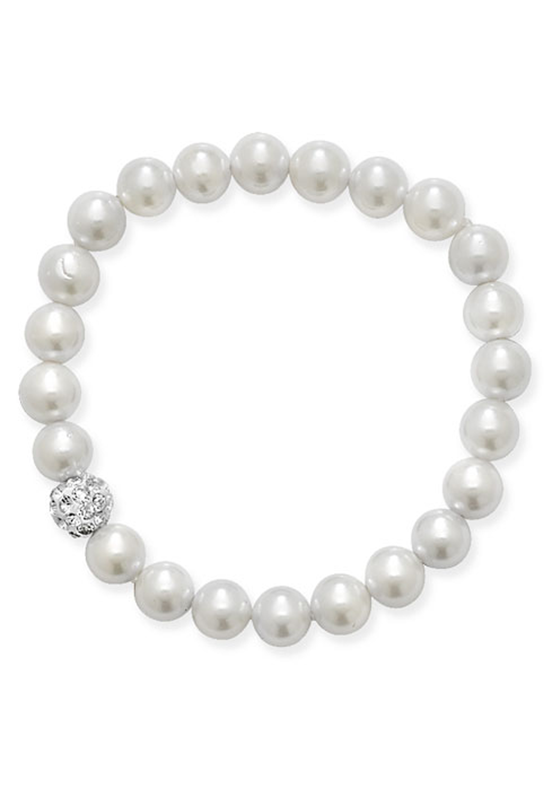 Girls Stretchy Pearl Bracelet with One Crystal Ball, Pearl