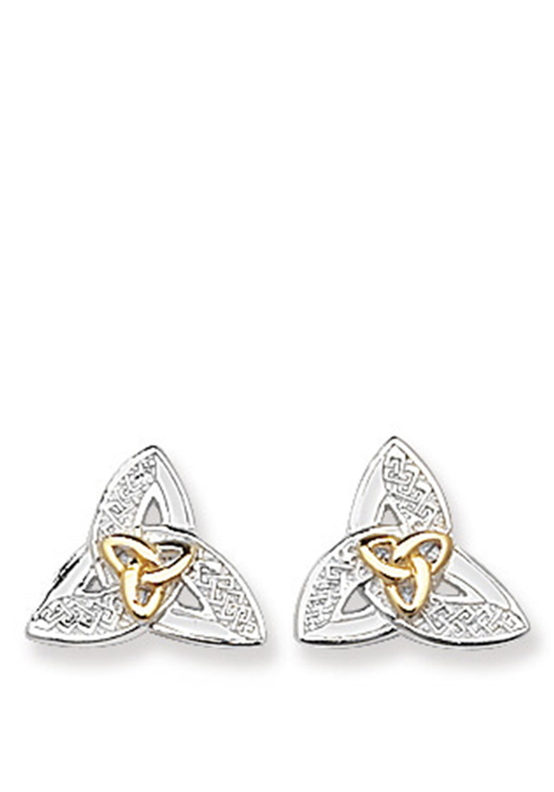 Sterling Silver & Gold Plated Celtic Stud Earrings