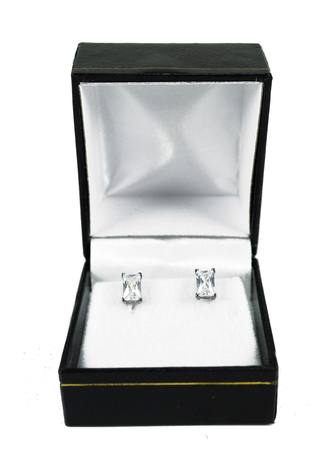 Stud Earrings, Rectangular Diamante