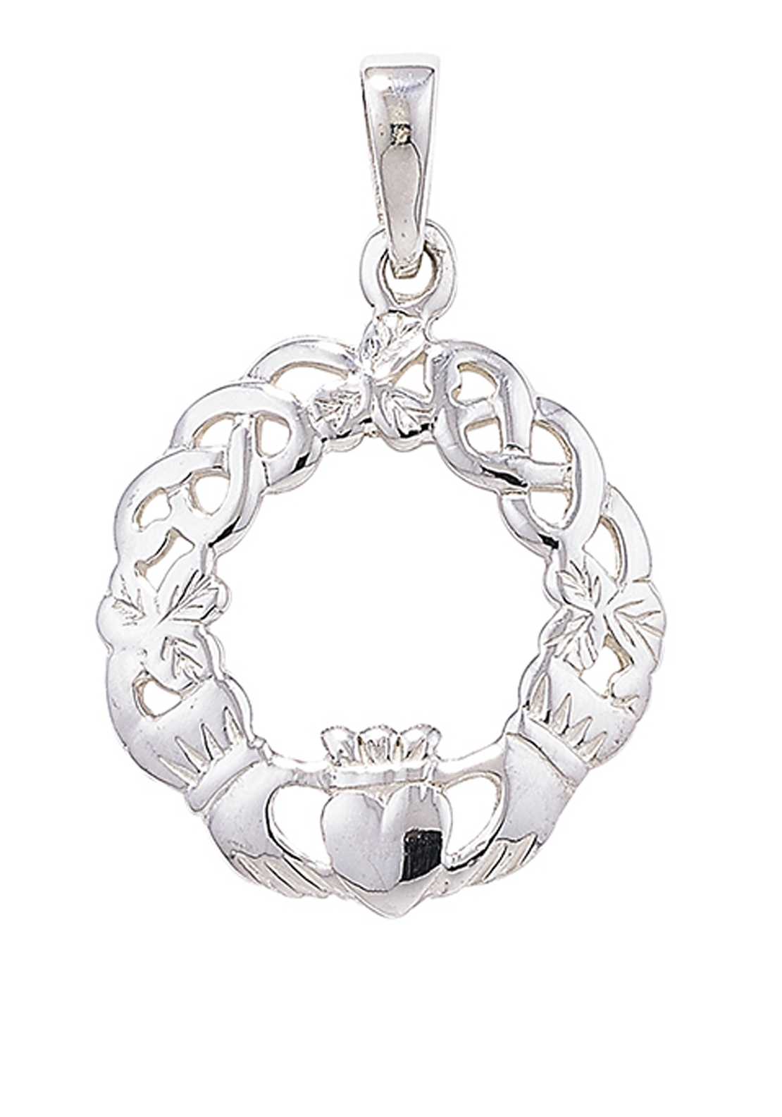 Girls Sterling Silver Necklace with Claddagh Pendant