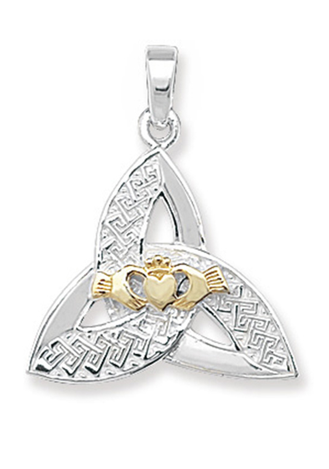 Kids Sterling Silver & Gold Plated Celtic Pendant & Chain