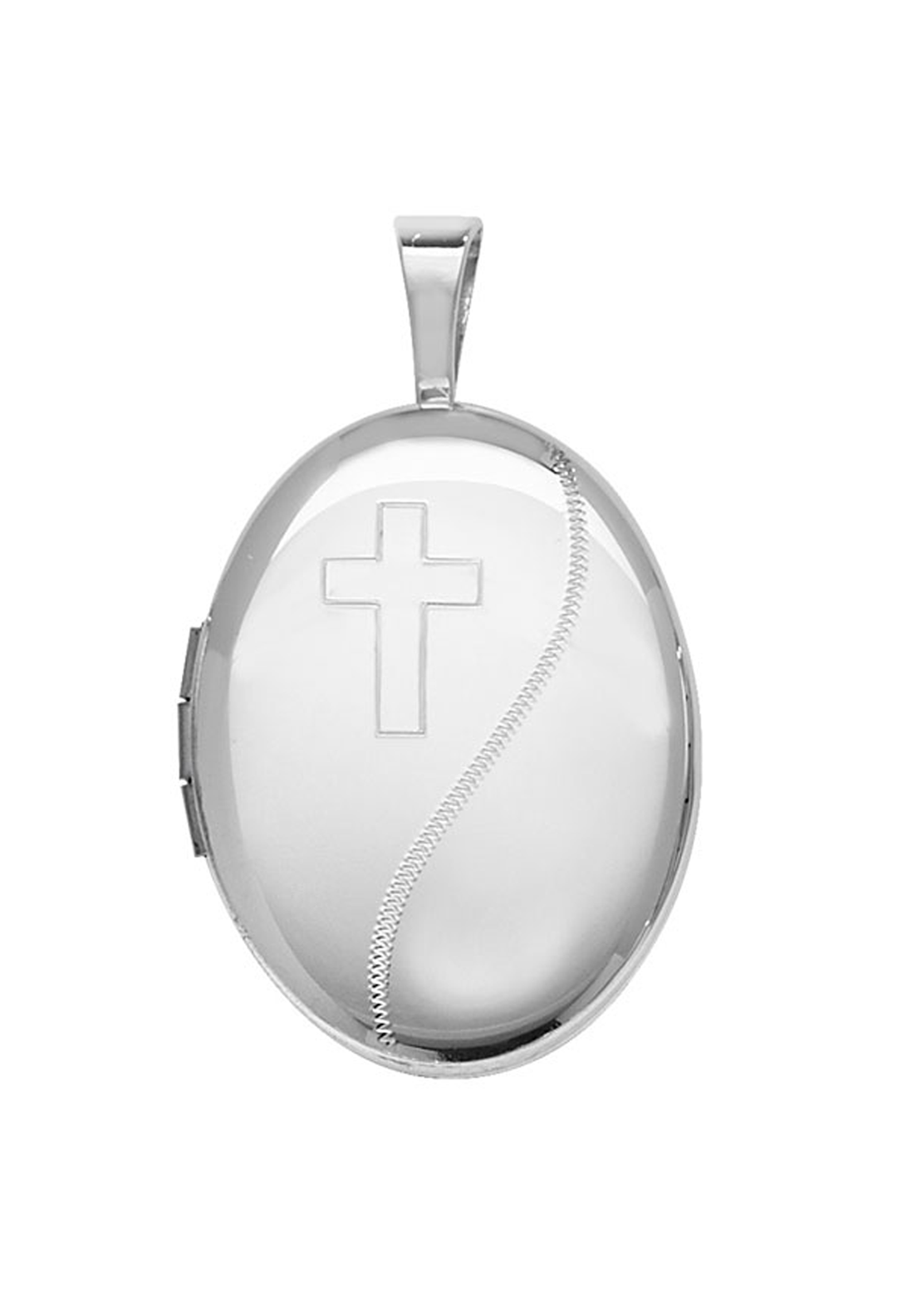 Girls Silver Locket with Cross Design & Chain, Silver