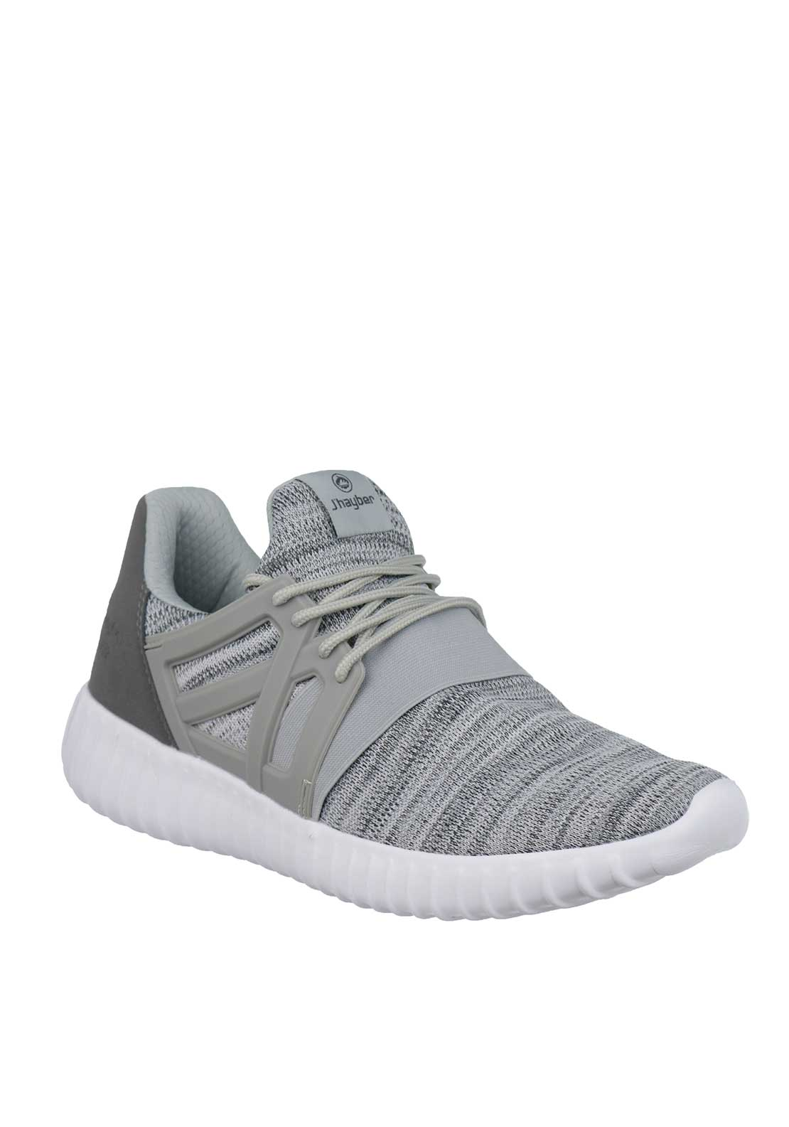 J'hayber Woven Knit Lace Trainers, Grey