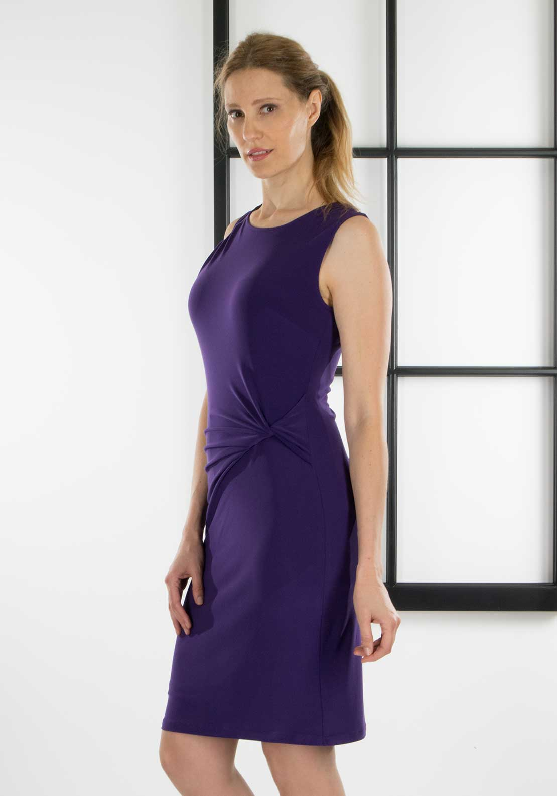 Joseph Ribkoff Ruched Pencil Dress, Purple
