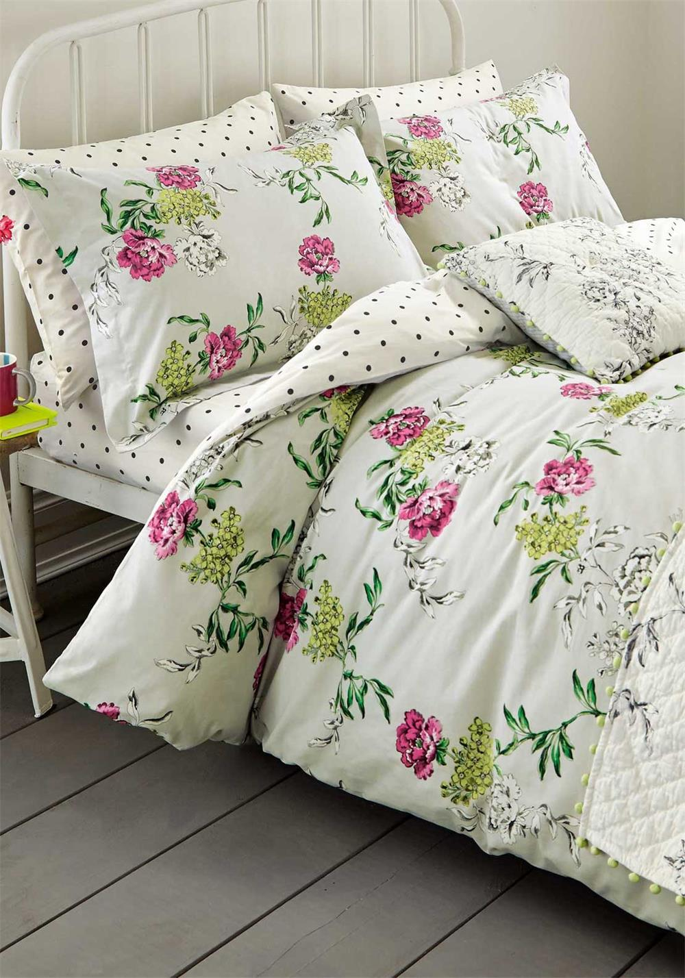 Joules Sleep Tight Buckingham Floral Duvet Cover, Crème With Multi Floral Print