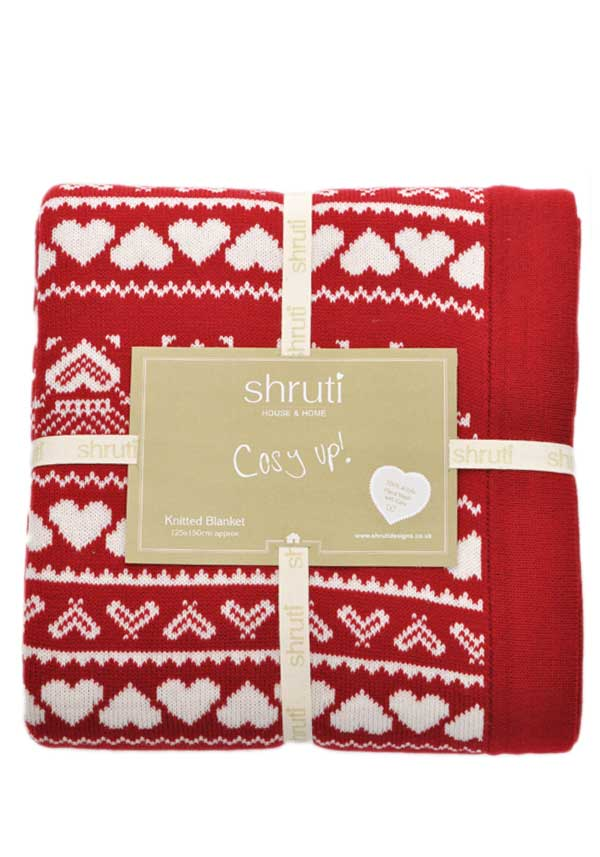 Shruti Cosy Up Knitted Scandinavian Style Blanket, Red