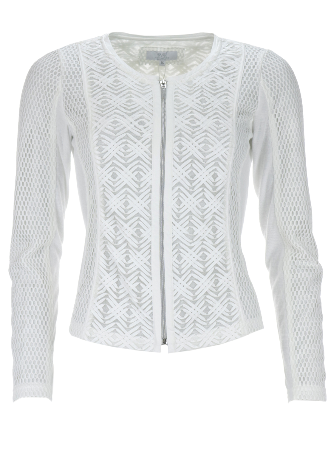 Just White PU and Mesh Trim Cardigan, Off White