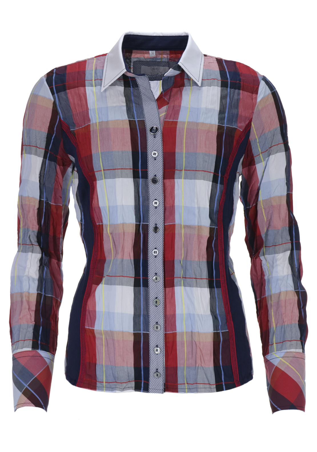 Just White Checked Print Crushed Long Sleeve Blouse, Multi-Coloured