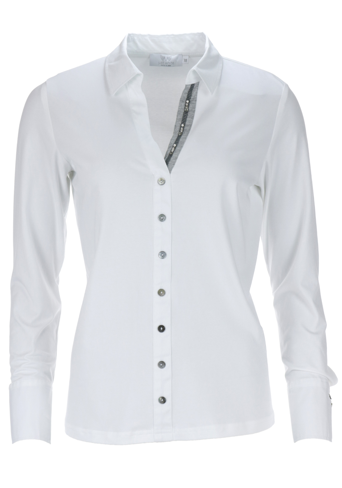 Just White Cotton Jersey Long Sleeve Blouse, White