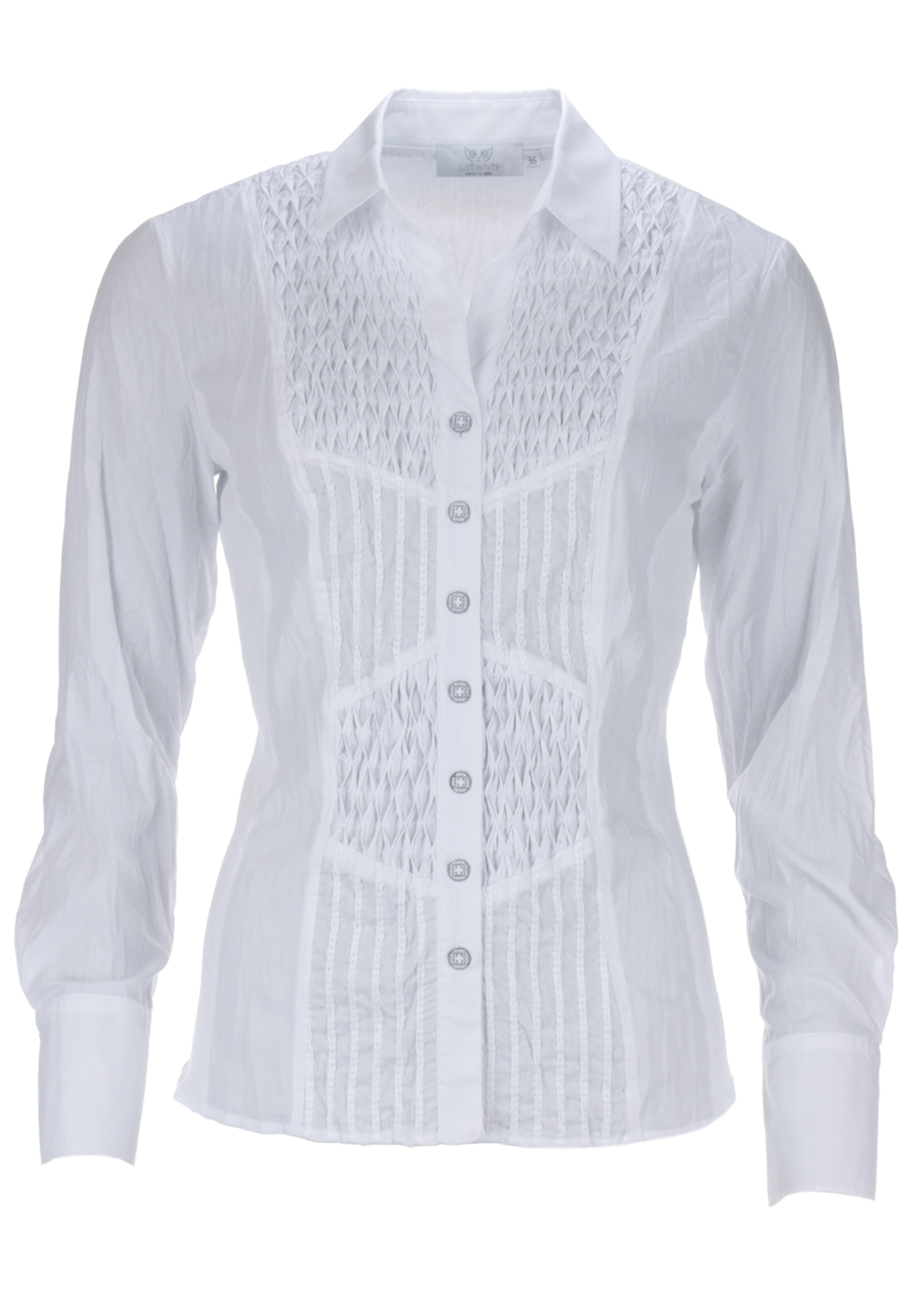 Just White Embroidered Panel Crushed Long Sleeve Blouse, White