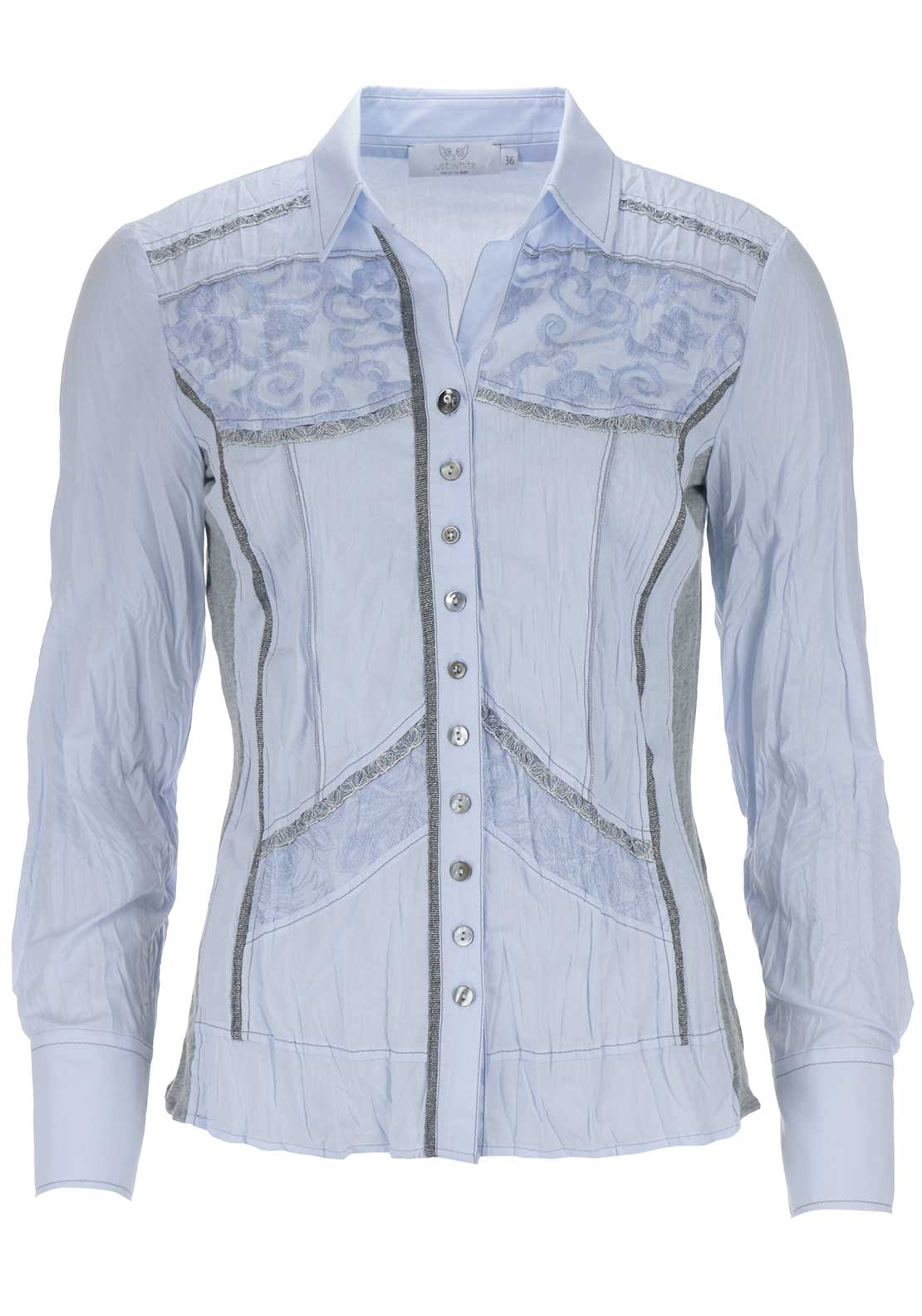 Just White Embroidered Blouse, Pale Blue