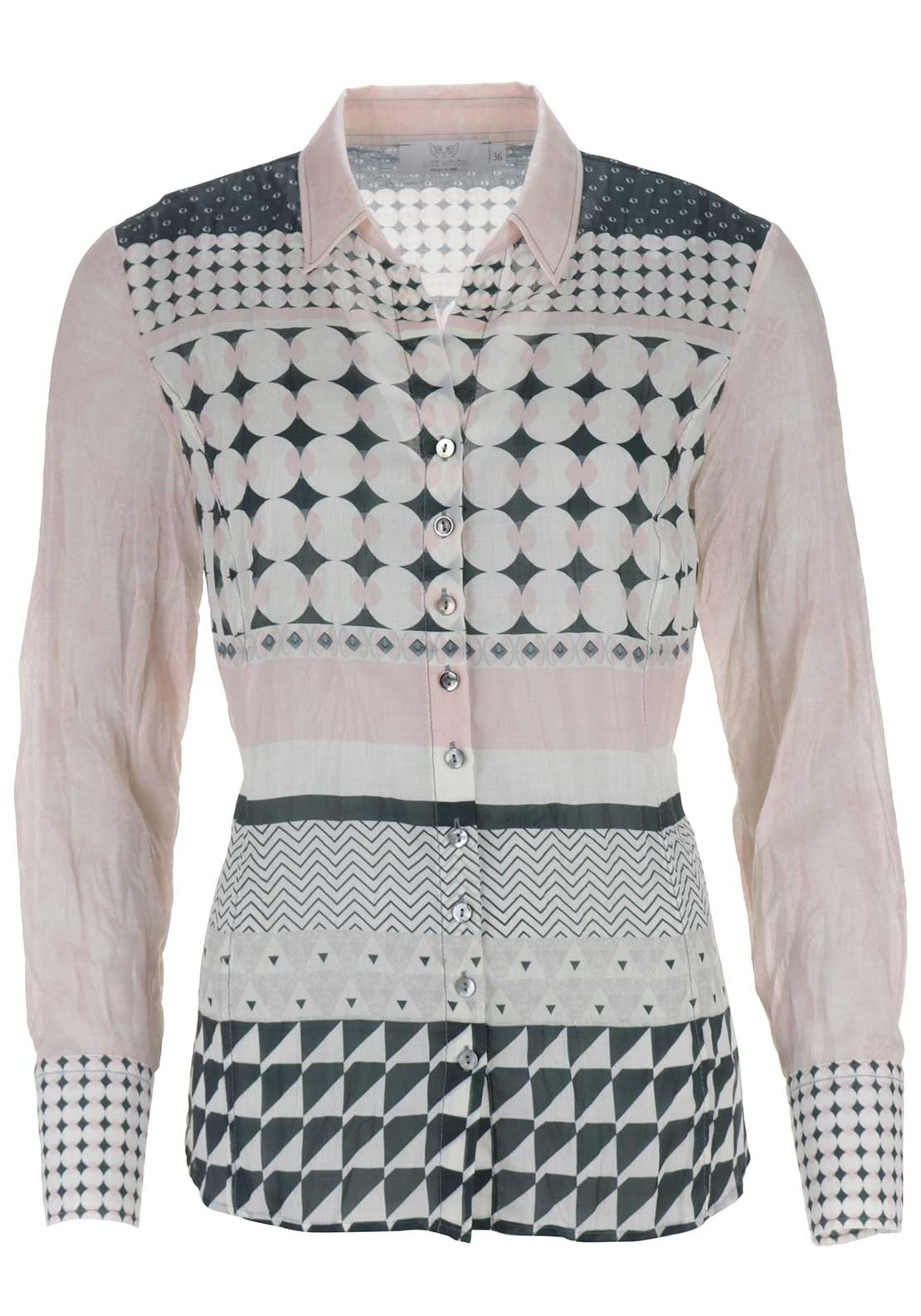 Just White Circle Print Blouse, Pink