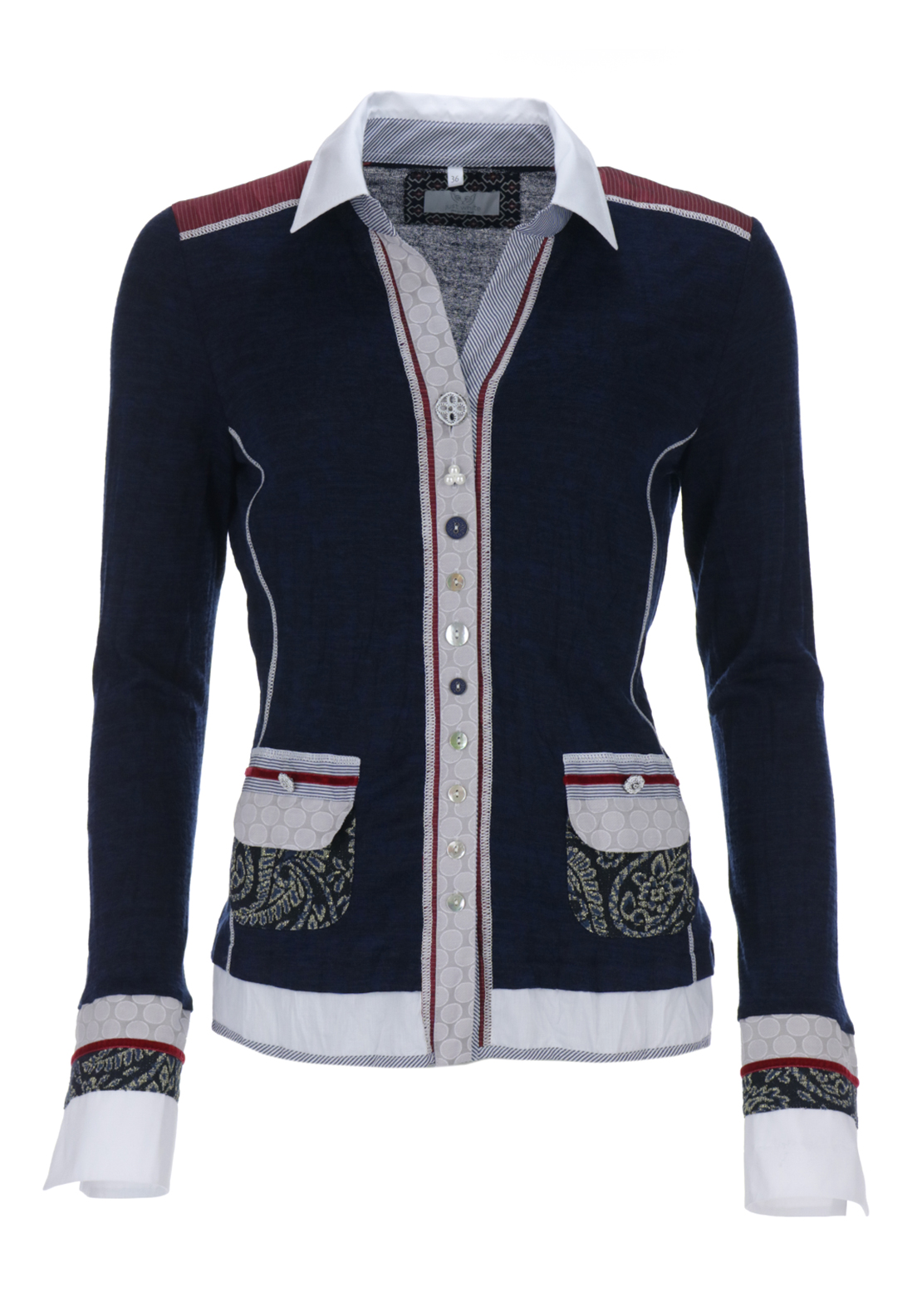 Just White Contrast Trim Fine Knit Crushed Cardigan, Navy
