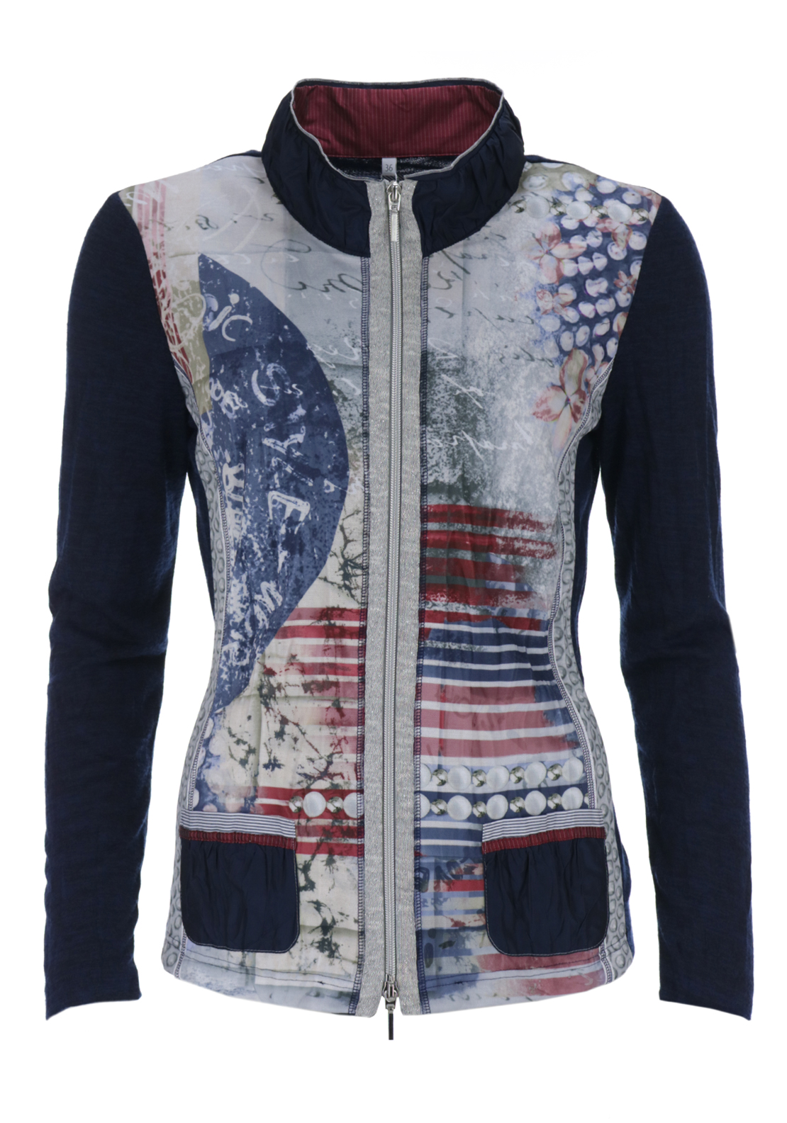 Just White Printed Fine Knit Cardigan, Navy Multi