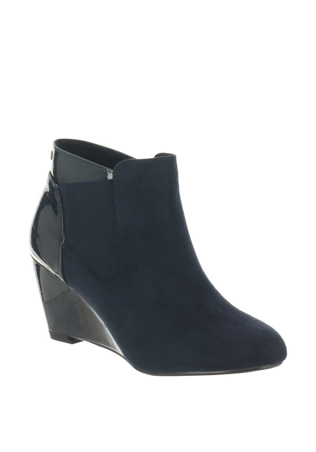 Kate Appleby Buckland Patent Wedge Chelsea Boots, Navy
