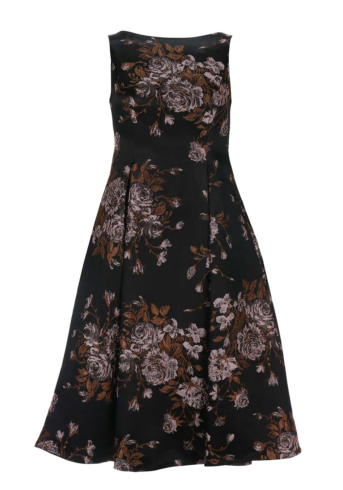 Kate Cooper Embroidered Flared Dress, Deep Brown