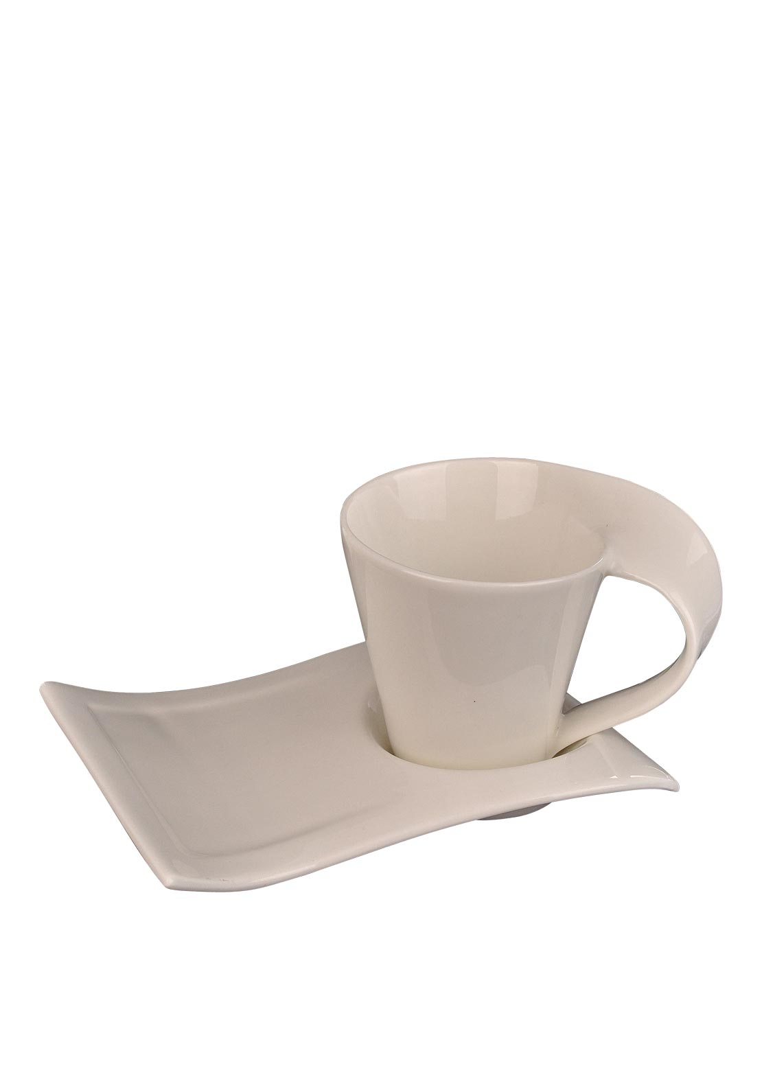 Slaneyside Pottery TV Cup and Side Plate Set, White