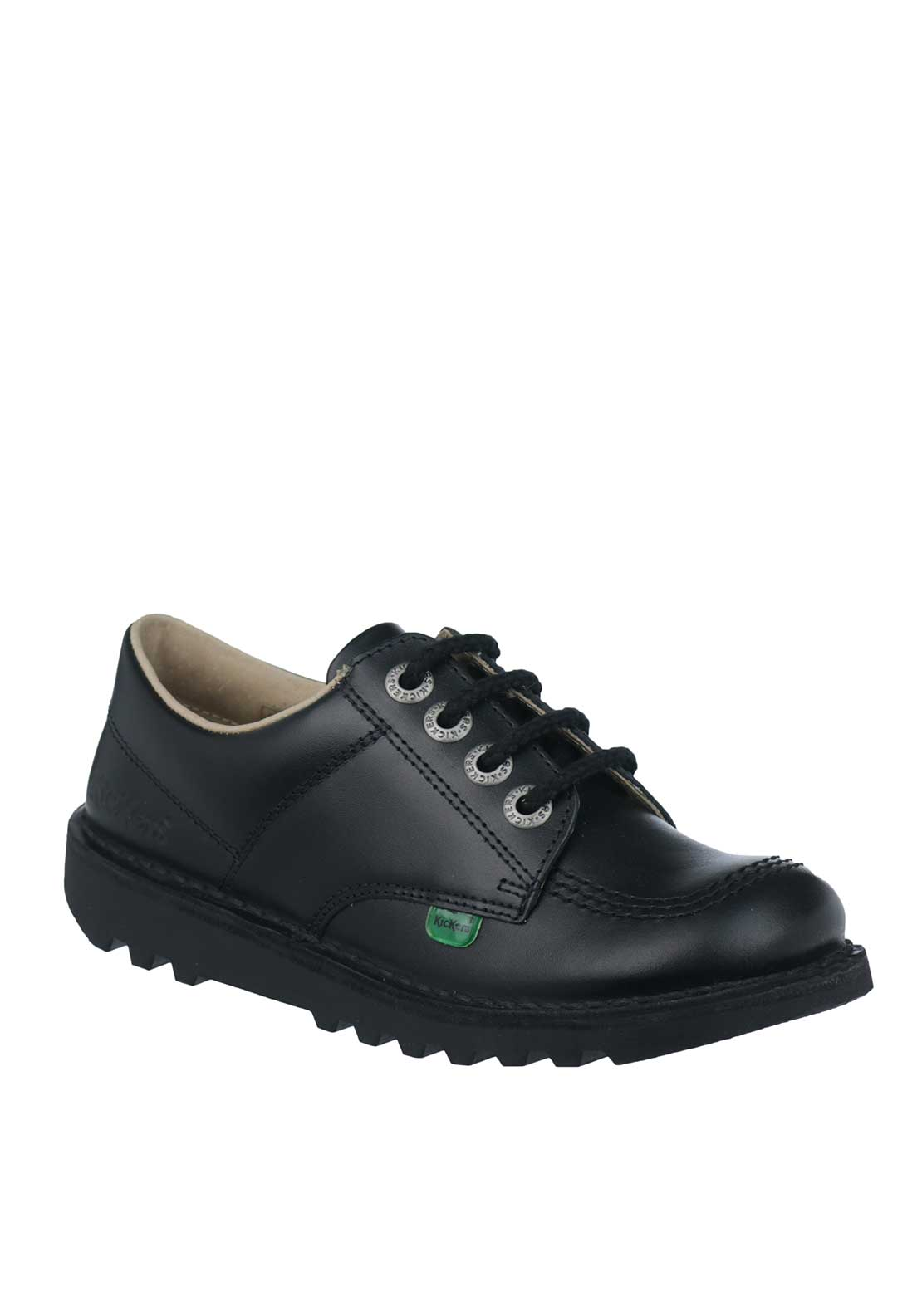 Kickers Kids Leather Lace School Shoes, Black