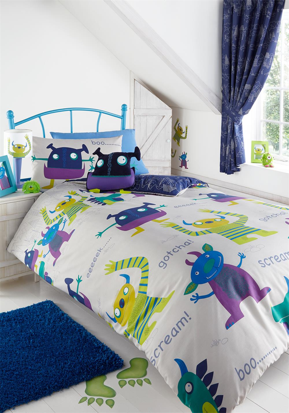 Kids' Club Friendly Monsters Duvet Set, Multi-Coloured
