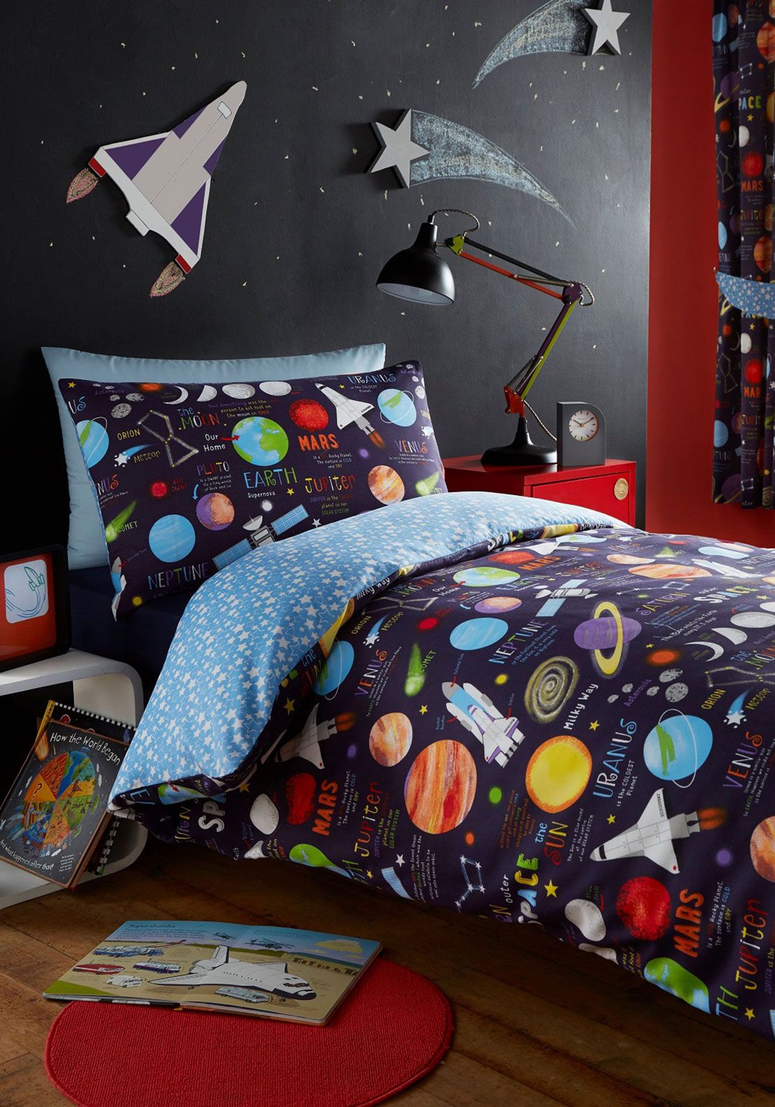 "Kids Club Planets Lined Curtains 66""x72"", Navy Multi"